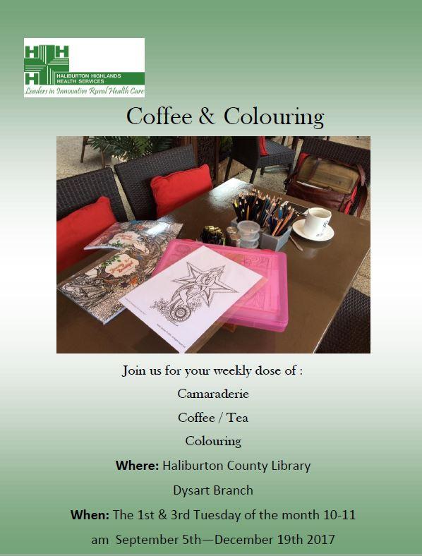 Camaraderie, Coffee/Tea & Coloring at the Dysart Branch Library, @ Dysart Branch Library | Haliburton | Ontario | Canada
