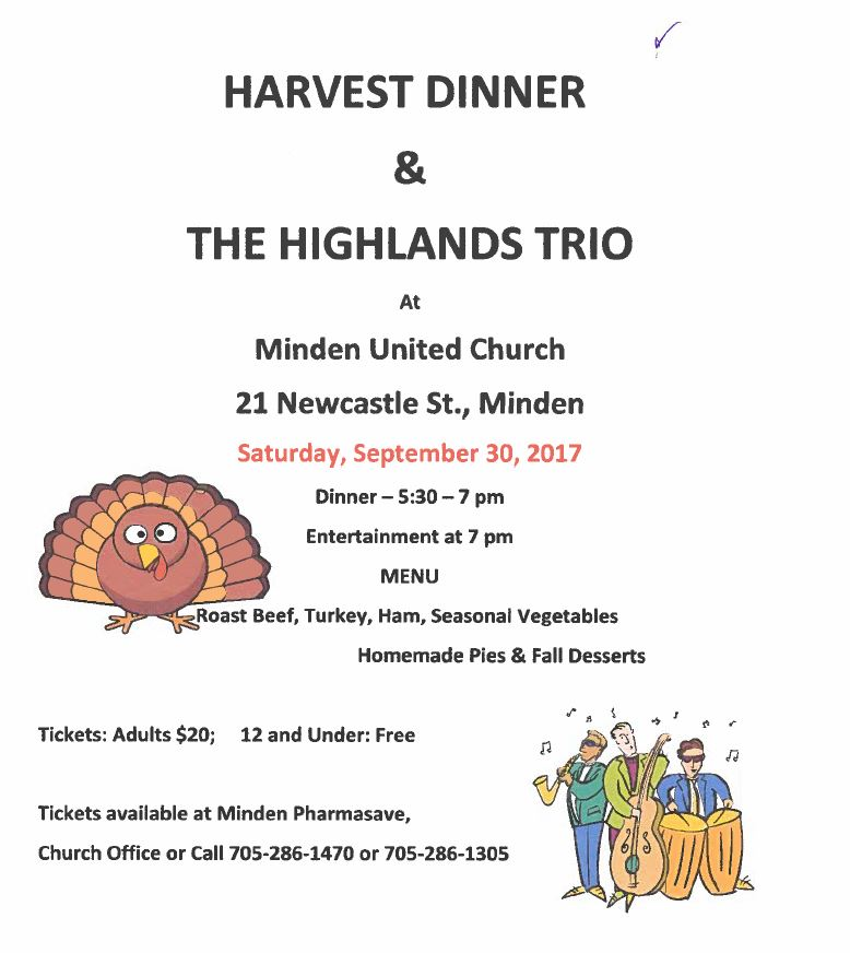 Harvest Dinner and the Highlands Trio at the Minden United Church @ Minden United Church | Minden | Ontario | Canada