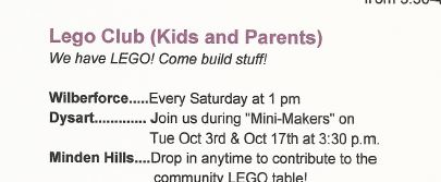 Lego Club (Kids and Parents at the Dysart and Minden Hills Branch Library) @ See below