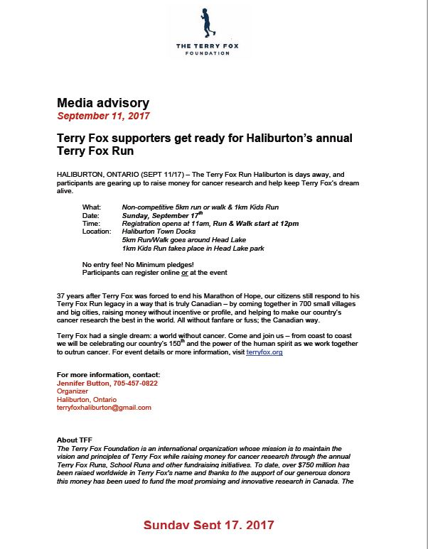 Annual Terry Fox Run @ Haliburton Town Docks | Haliburton | Ontario | Canada