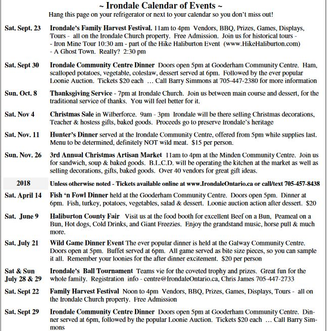 Irondale Events (see attached calendar for complete details) @ See calendar below