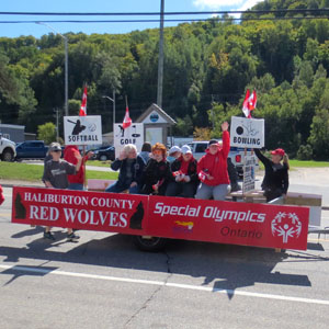 The Haliburton County Red Wolves at the Special Olympics Torch Run on September 9, 2017