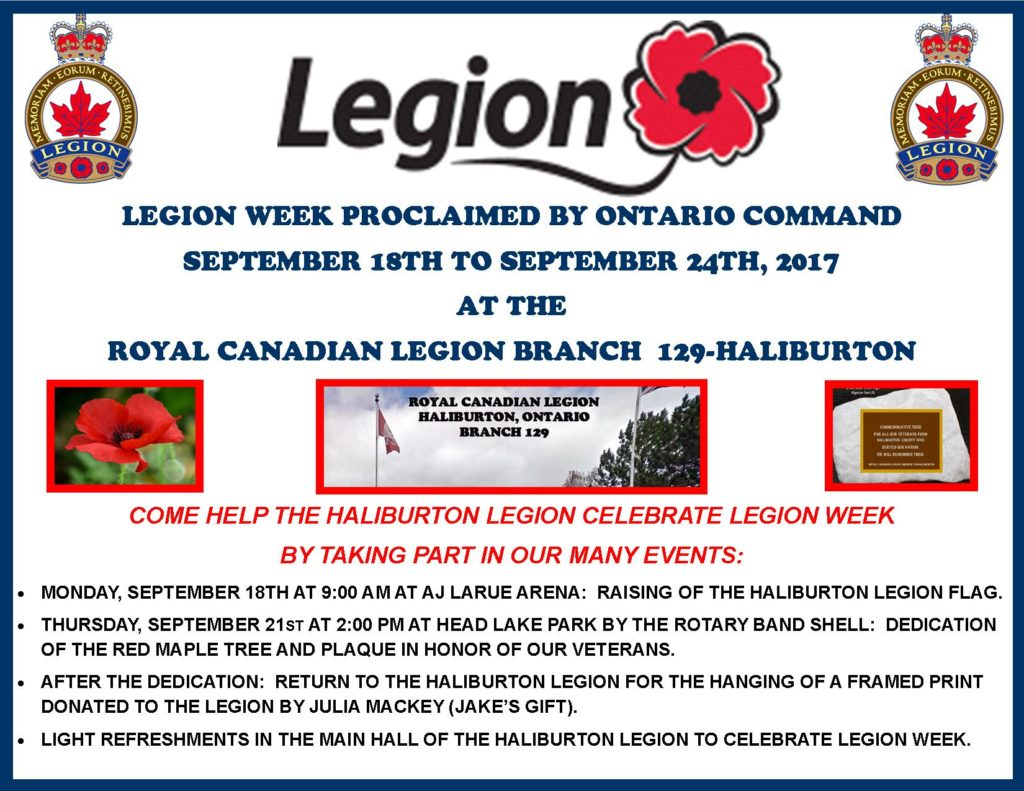 Raising of the Haliburton Legion flag at AJ LaRue Arena in celebration of Legion Week @ AJ LaRue Arena (Haliburton Arena)