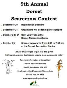 5th Annual Dorset Scarecrow Contest @ Dorset Recreation Centre