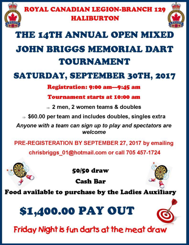 The 14th Annual Open Mixed John Briggs Memorial Dart Tournament @ Haliburotn Legion | Haliburton | Ontario | Canada