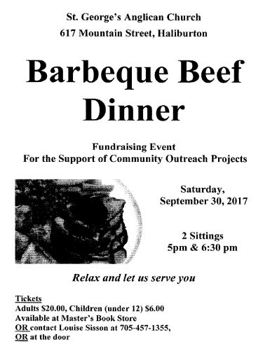 BBQ Beef Dinner at St. George's Anglican Church @ St.George's Anglican Church | Haliburton | Ontario | Canada
