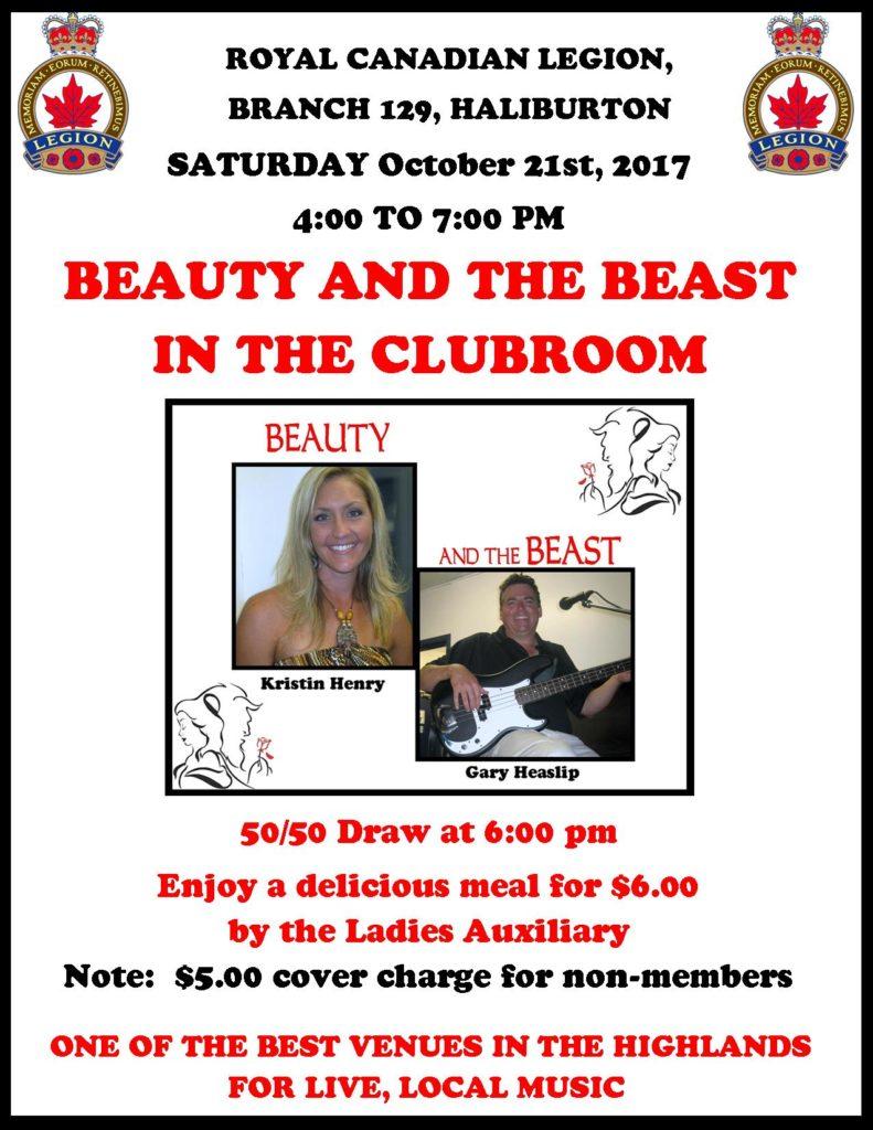 Haliburton Legion presents Beauty & the Beast in the Clubroom @ Royal Canadian Legion Branch 129 Haliburton | Ontario | Canada