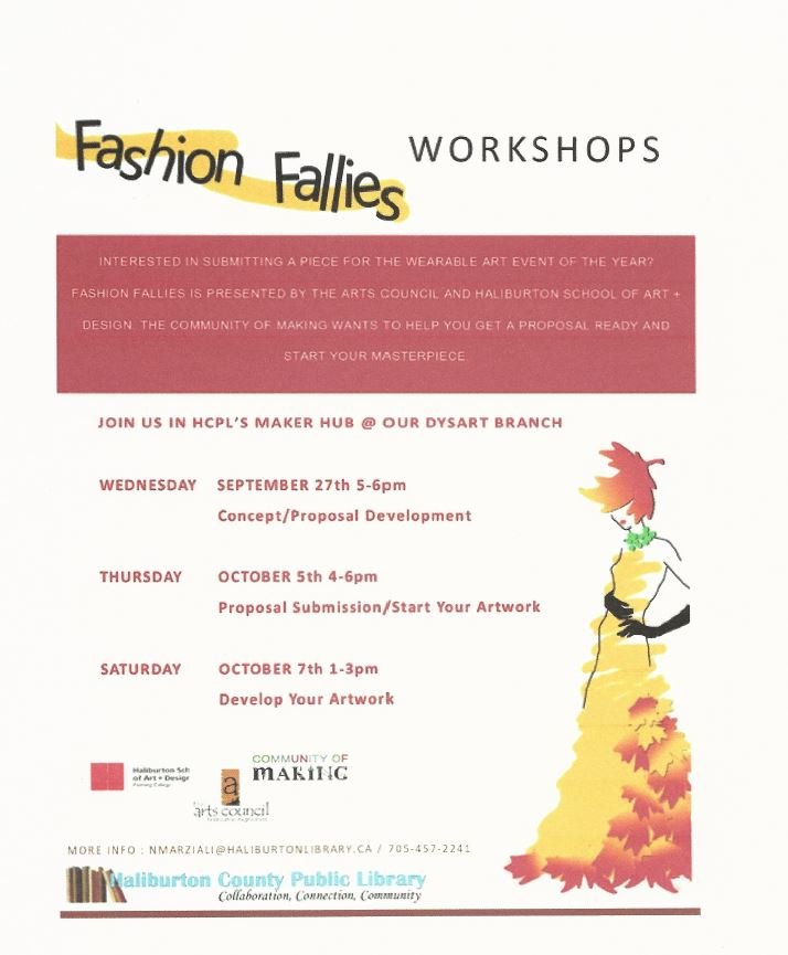Fashion Fallies Workshops @ HCPL's Maker Hub at Dysart Library | Haliburton | Ontario | Canada