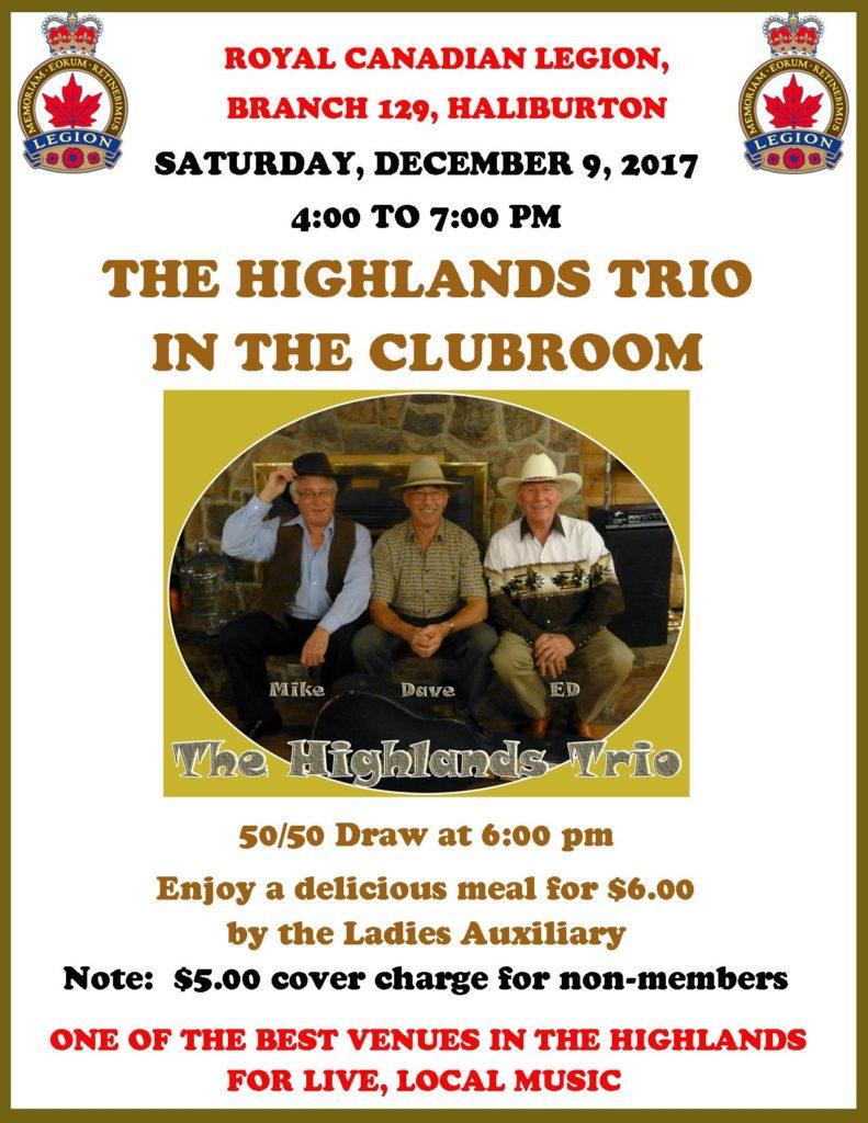 The Highlands Trio in the Clubroom of the Haliburton Legion @ Royal Canadian Legion Branch 129 Haliburton | Haliburton | Ontario | Canada