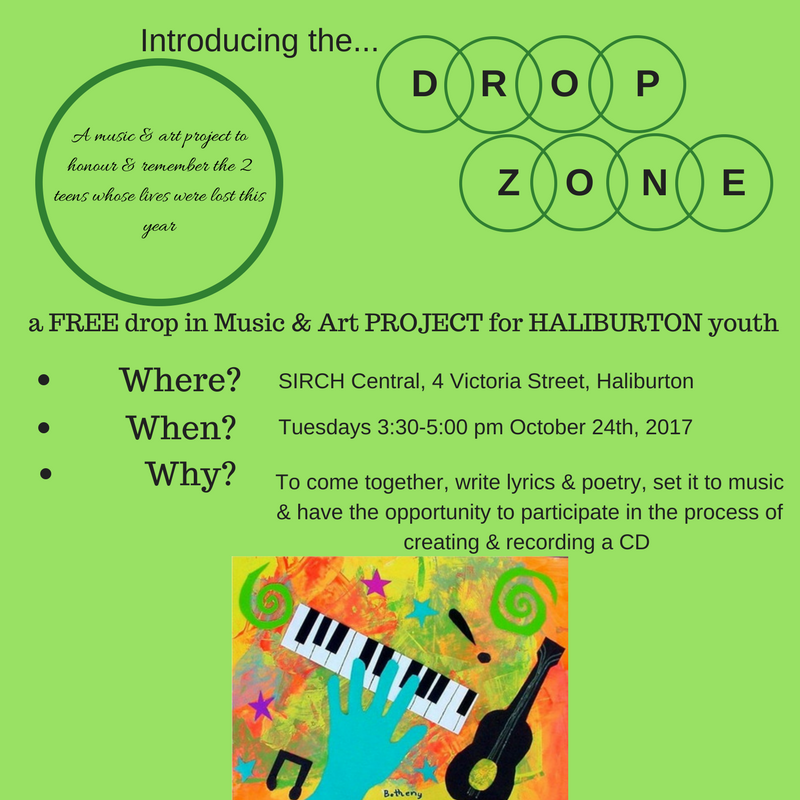 Drop Zone-Free Drop In Music and Art Project for Haliburton Youth @ SIRCH Central | Haliburton | Ontario | Canada