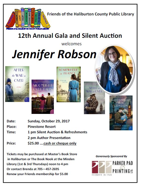 12tha Annual Gala and Silent Auction  of the Friends of the Haliburton County Public Library welcomes Jennifer Robson @ Pinestone Resort | Haliburton | Ontario | Canada