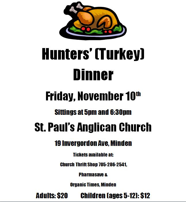 Hunters (Turkey) Dinner at St. Paul's Anglican Church @ St. Paul Anglican Church | Minden | Ontario | Canada