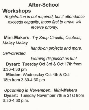After-School Workshops at the Dysart & Minden Library @ See below