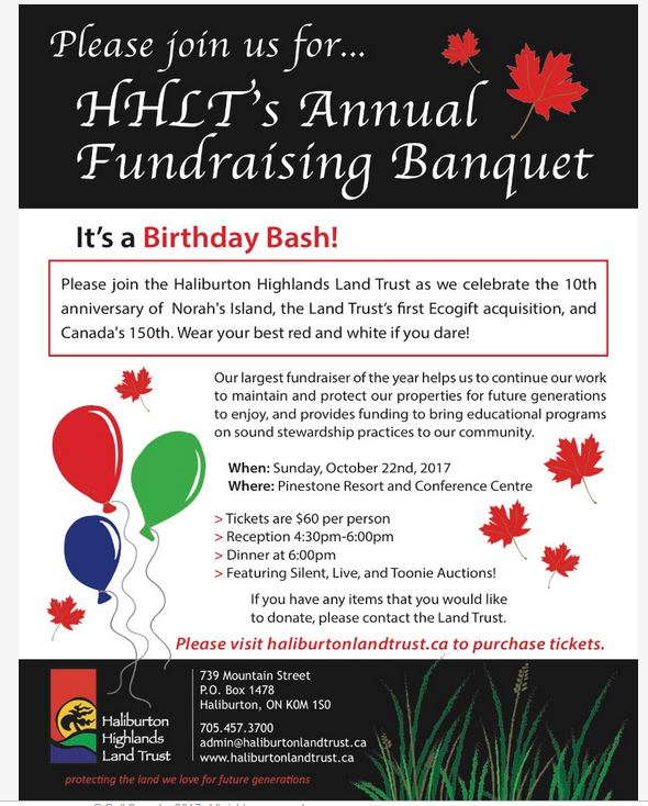 Haliburton Highlands Land Trust Annual Fundraising Banquet-Birthday Bash @ Pinestone Resort | Haliburton | Ontario | Canada