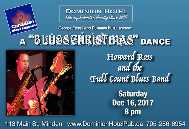 """""""A Blues Christmas Dance"""" with Harold Ross and the Full Count Blues Band @ Dominion Hotel 