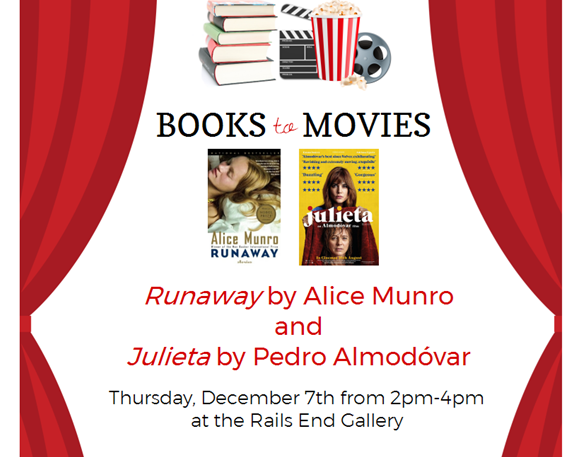 """""""Book to Movies"""" at the Rails End Gallery with the Haliburton County Public Library @ Rails End Gallery 