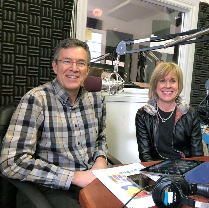 """Dr. Norm Bottum and his wife Janet  taping """"Medical Matters"""" in Canoe FM with Barry Willhelm in January 2018"""