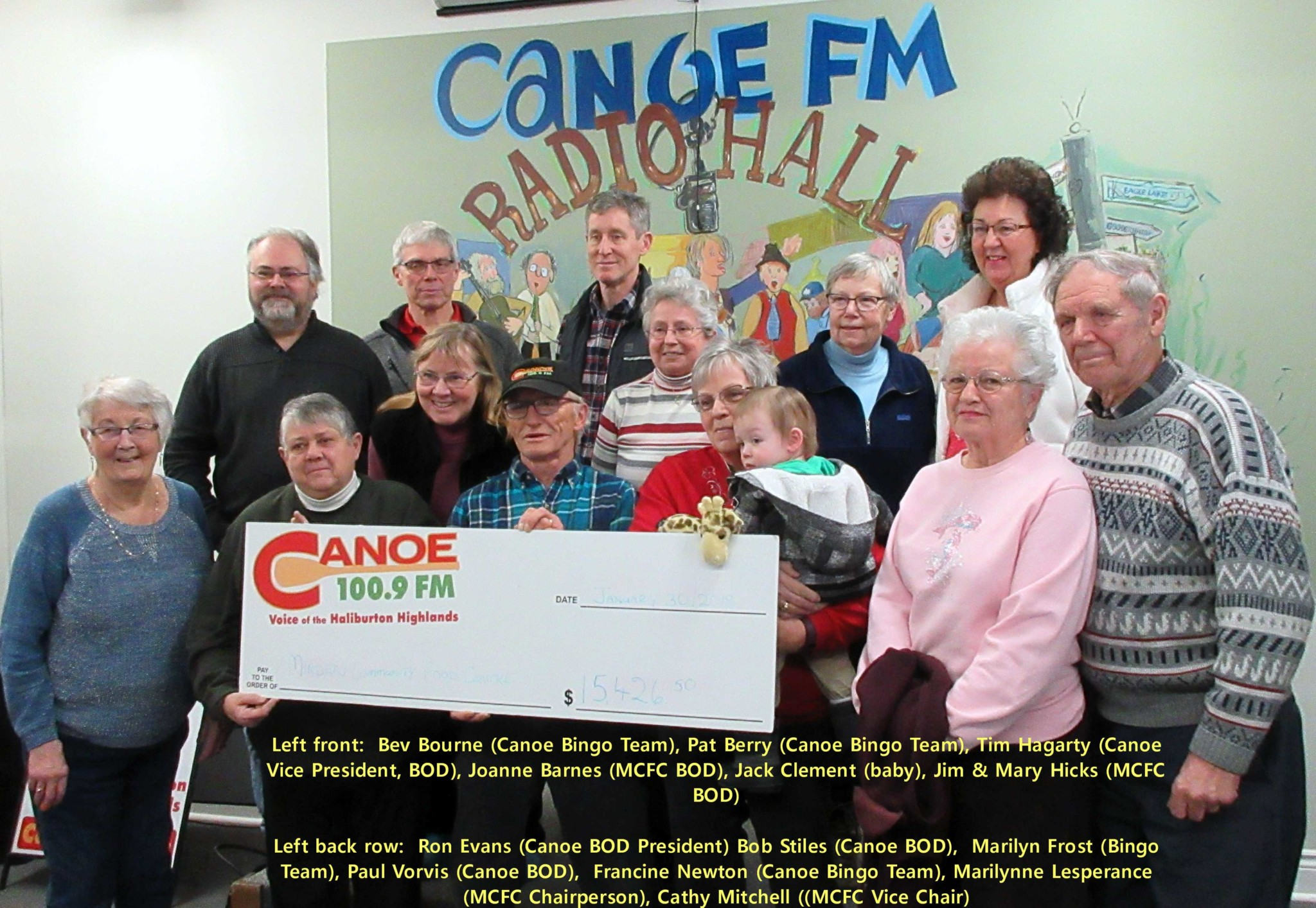 The Minden Community Food Centre were presented with a cheque for $15,426.50 from the proceeds of the Canoe FM Bingo on January 30, 2018.