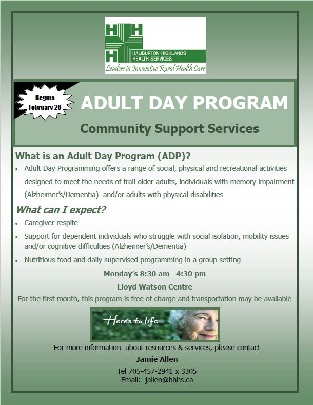 Adult Day Program (Highlands East) @ Lloyd Watson Centre | Wilberforce | Ontario | Canada