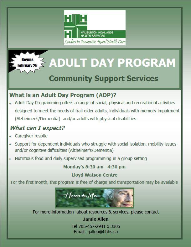 Adult Day Program (Highlands East) @ Lloyd Watson Centre | Wilberforce | Ontario | Canada