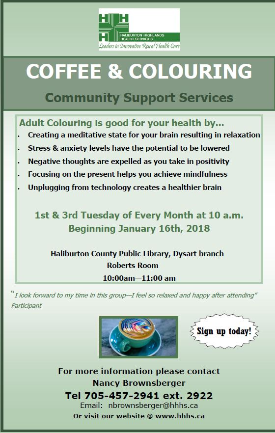 Coffee & Coloring for Adults at the Dysart Branch Library @ Dysart Branch Library | Haliburton | Ontario | Canada