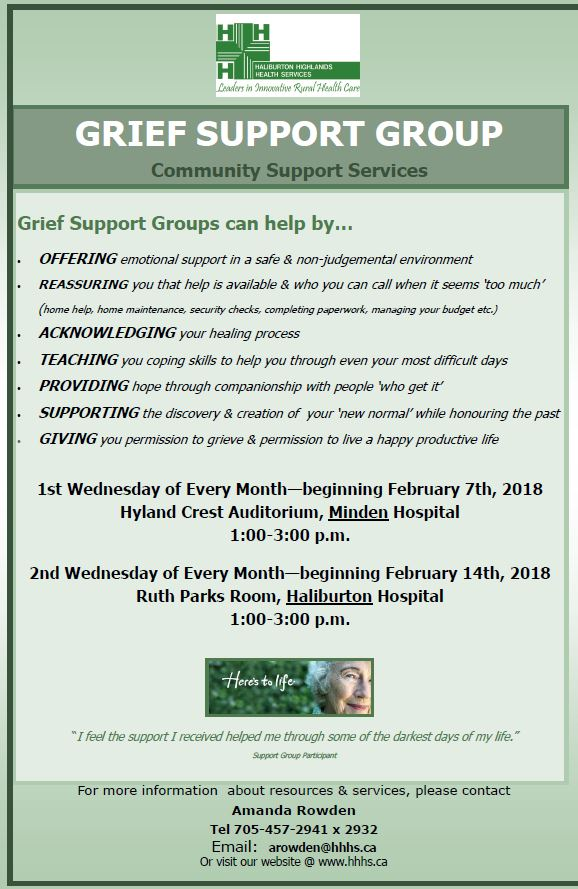 Grief Support Group in Haliburton (Community Support Services) @ HHHS-Ruth Parks Room  | Haliburton | Ontario | Canada