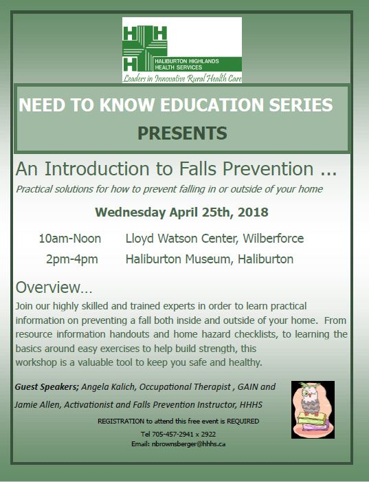 """Need to Know Educational Series: """"An Introduction to the Fall Prevention Program @ Lloyd Watson Centre 