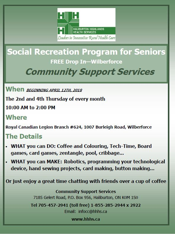 Free Social Recreational Program in Wilberforce from CSS for Seniors @ Wilberforce Legion | Wilberforce | Ontario | Canada
