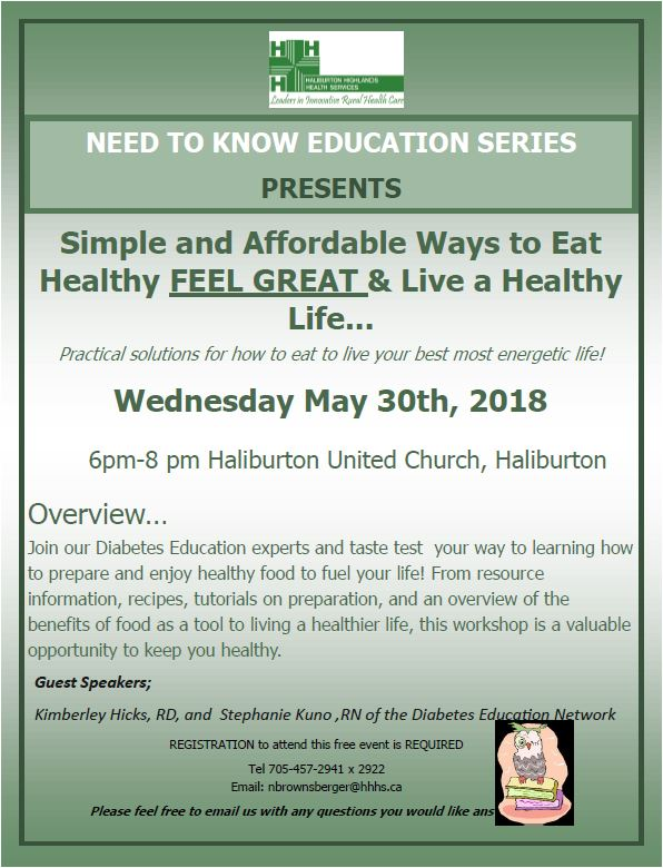 Need to Know Education Series: Simple and Affordable Way to Eat Healthy @ Haliburton United Church | Haliburton | Ontario | Canada