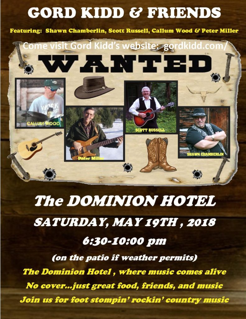 Gord Kidd & Friends (Peter Miller, Callum Wood, Scott Russell and Shawn Chamberlin)at the Dominion Hotel @ Dominion Hotel | Minden | Ontario | Canada