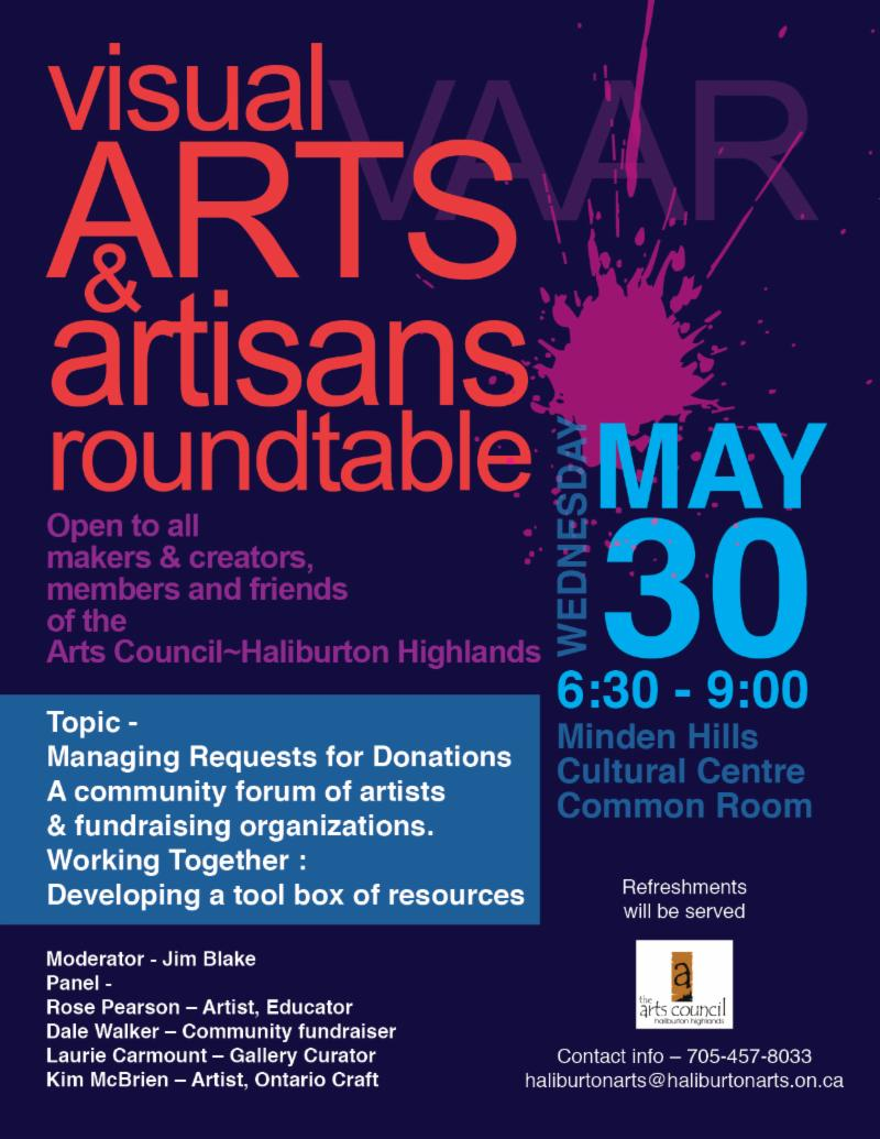 Visual Arts and Artisans Round Table @ Minden Hills Cultural Centre | Minden | Ontario | Canada