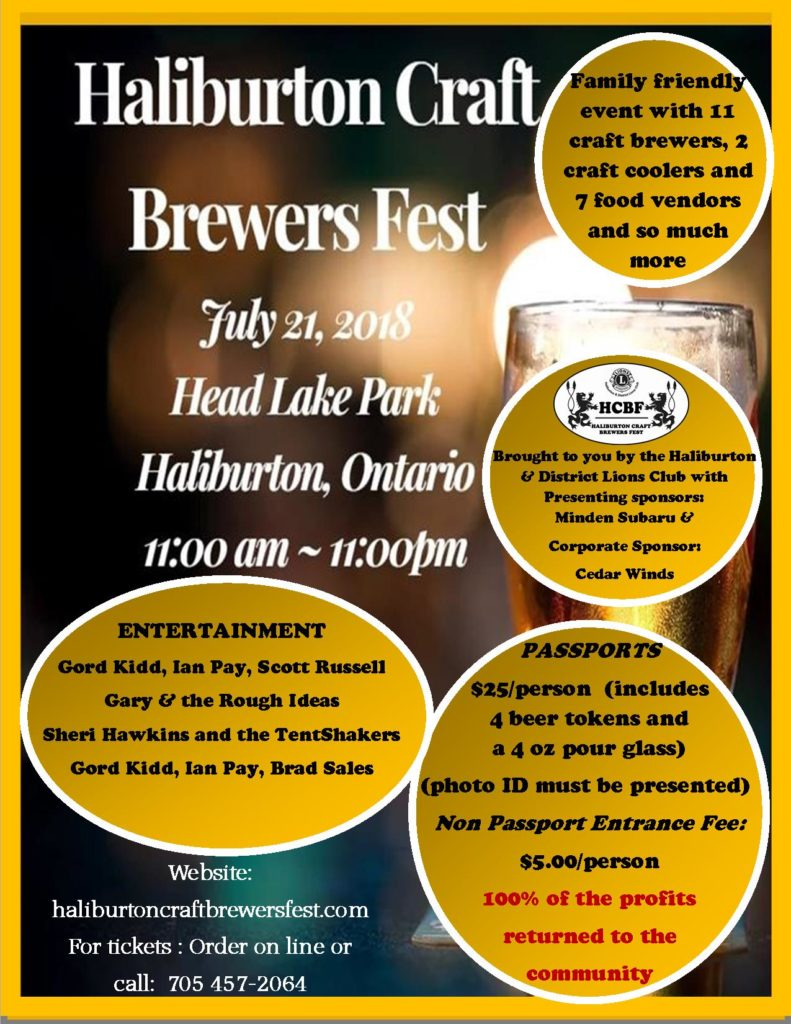 Haliburton Craft Brewers Fest sponsored by the Haliburton & District Lions Club @ Rotary Head Lake Park | Haliburton | Ontario | Canada