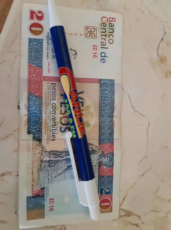 Canoe FM On Air Host Pat Monaghan of Buckslide Blue Cruise  left a Canoe FM pen in Cuba for all the visitors to use.