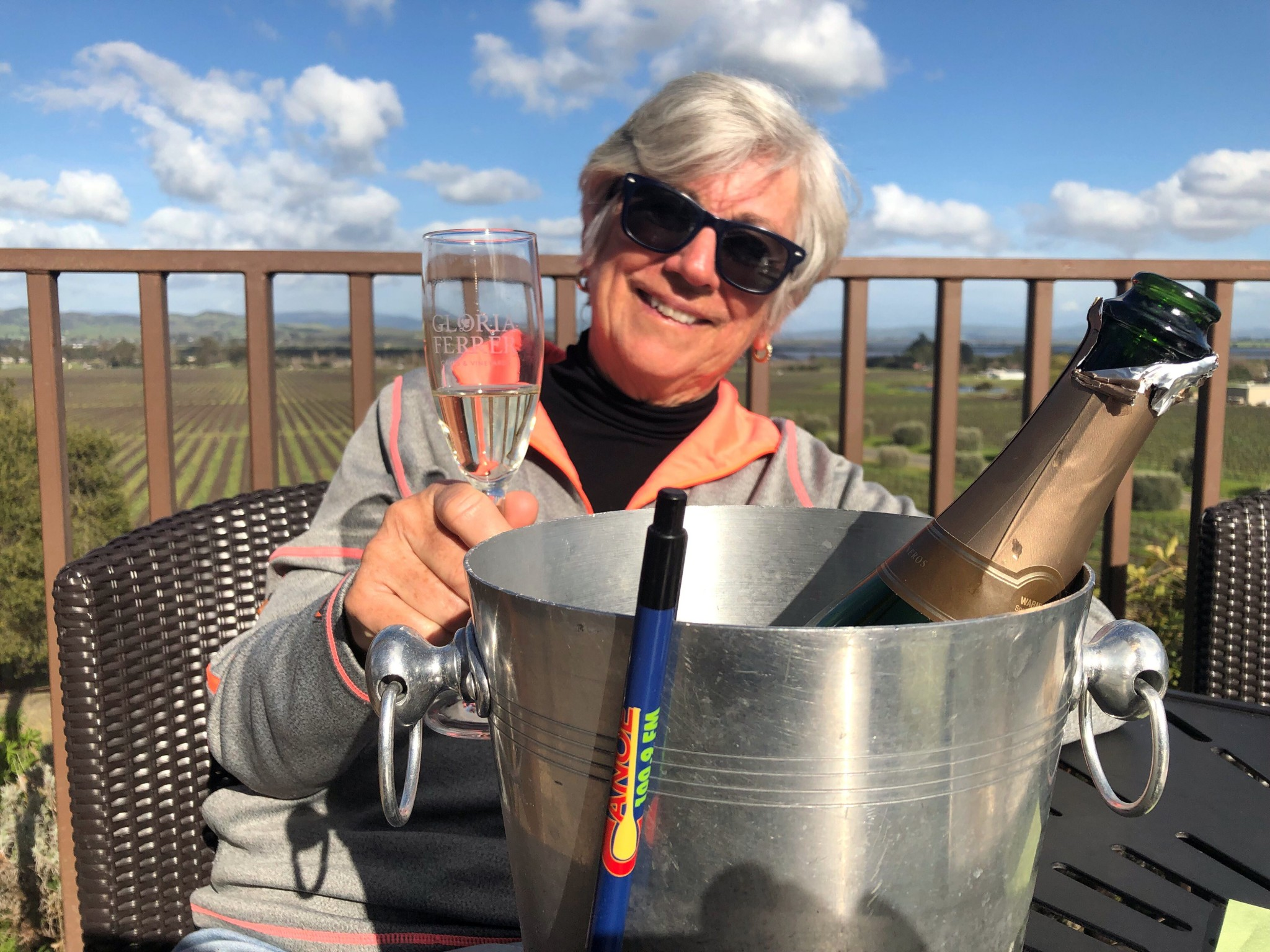 The Canoe FM pen made it to Gloria Ferrer Winery in Sonoma, California with Canoe FM listener, Lois Maxwell