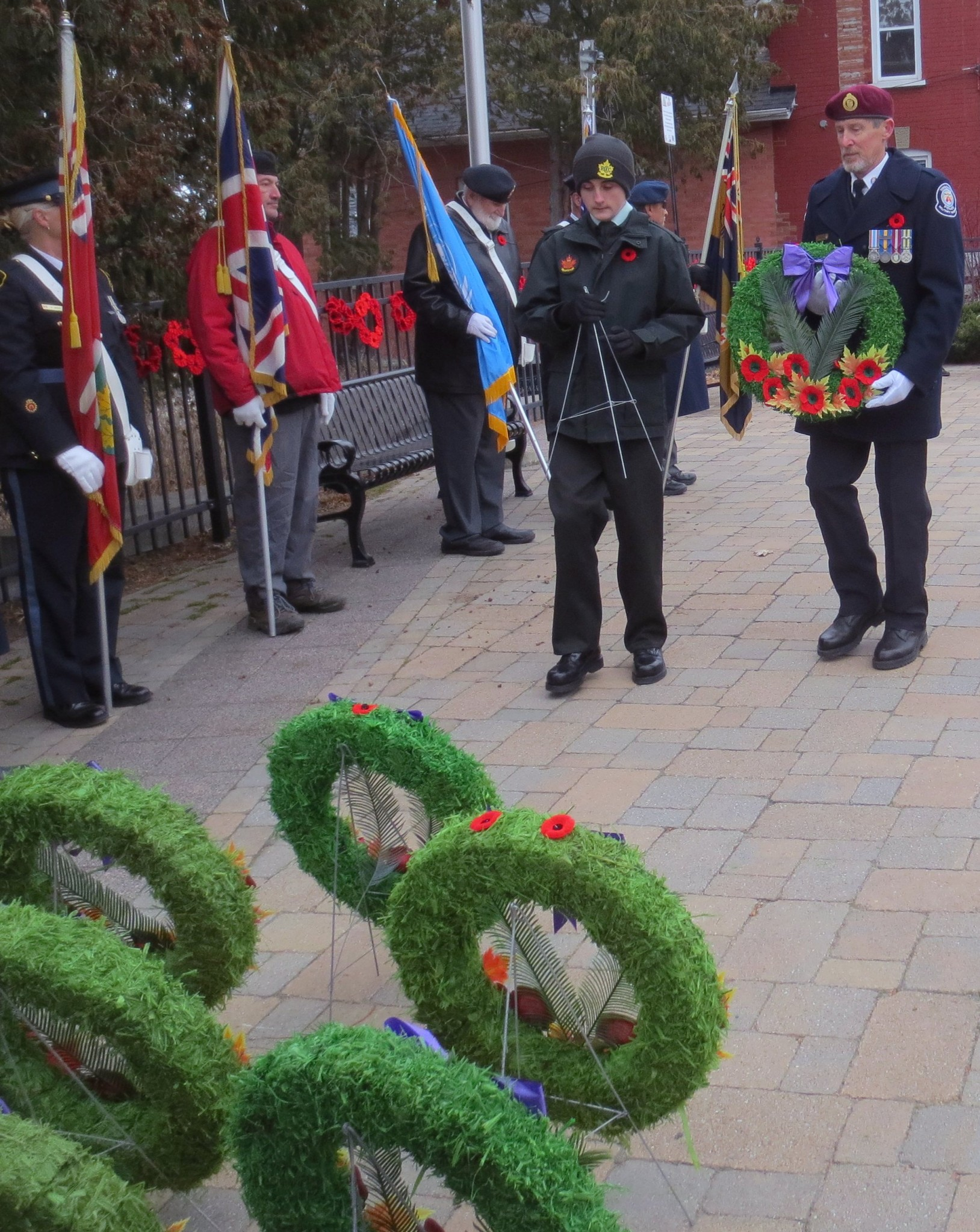 Canoe FM's on-air host and Board of Director, Paul Vorvis laying the Canoe FM wreath at the Haliburton cenotaph on Monday, November 11, 2019