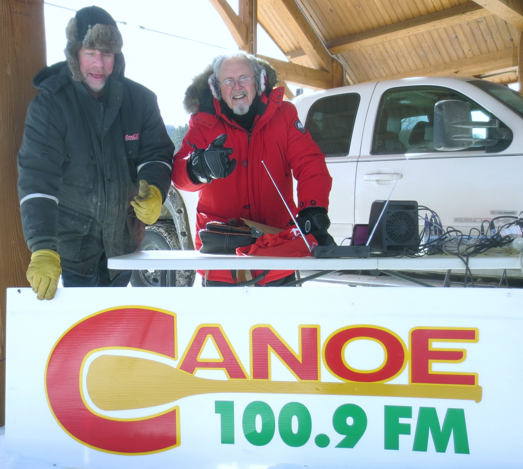 Canoe FM's Mike Jaycock and Ron Murphy reporting live from the Haliburton Lions Polar Bear Challenge event at the Frost Festival in Haliburton