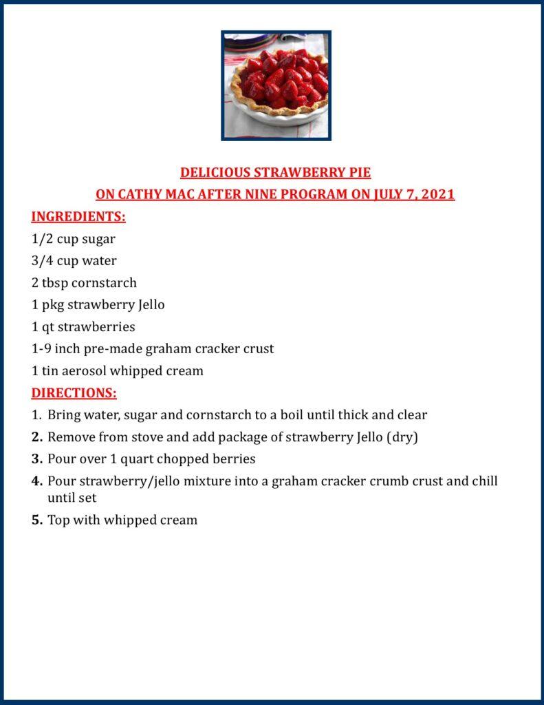 Delicious Strawberry Pie recipe