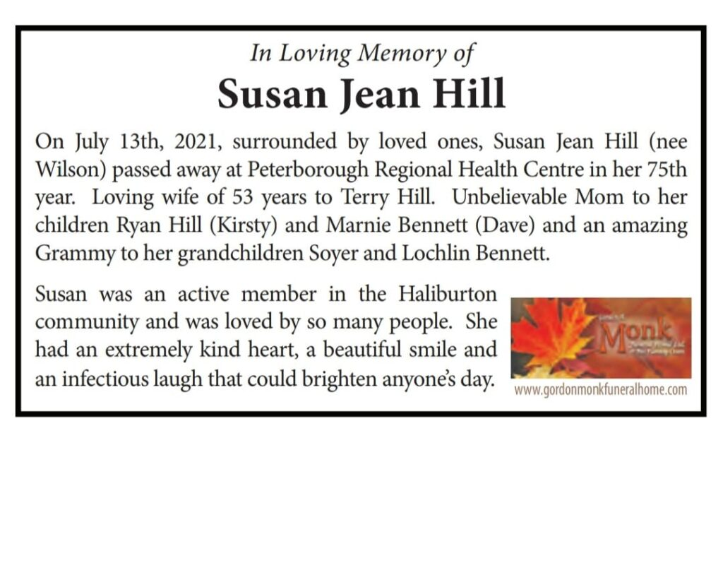 We are very sad to have to let you know that one of our Volunteers, Susan Hill  has passed away.  Susan volunteered with our Bingo Team and she had such a sunny, infectious personality.