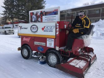 Getting Pinestone pond's ice ready for pond hockey 2017