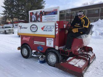 Getting Pinestone pond's ice ready for pond hockey 2017