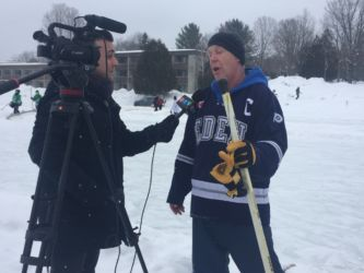 John Teljeur being interviewed by CTV about the Pond Hockey Championship 2017