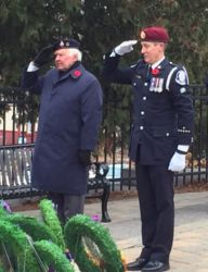 Paul Vorvis Laying the Canoe FM Wreath in Haliburton- Remembrance Day 2016
